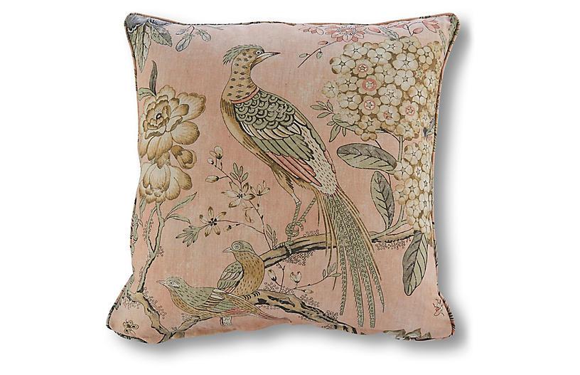 Floral Pheasant 20x20 Pillow, Blush Linen