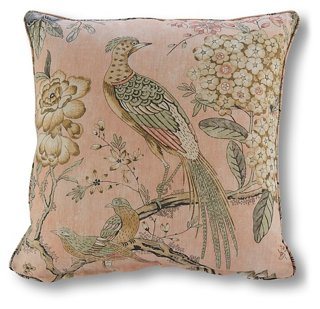 Floral Pheasant 20x20 Pillow, Blush Linen