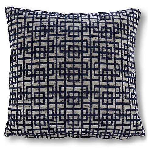 Saki 20x20 Geometric Pillow, Indigo/White