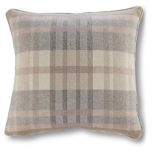 Romy Plaid 20x20 Outdoor Pillow, Blush Sunbrella