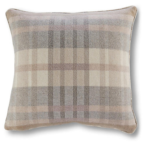 Romy Plaid 20x20 Outdoor Pillow, Blush Sunbrella