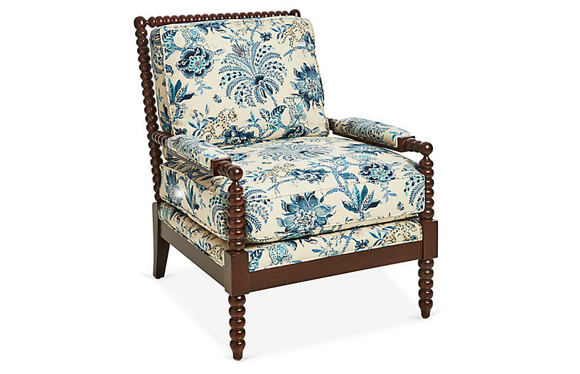 Bankwood Spindle Chair, Indigo/Ivory Linen