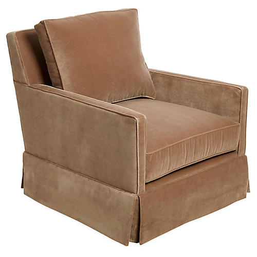 Auburn Club Chair, Toffee Velvet