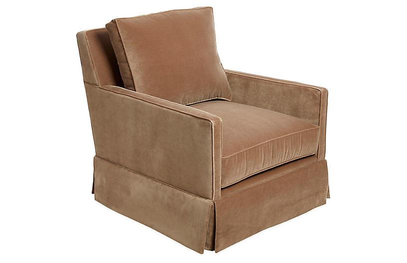 Auburn Club Chair, Toffee Velvet