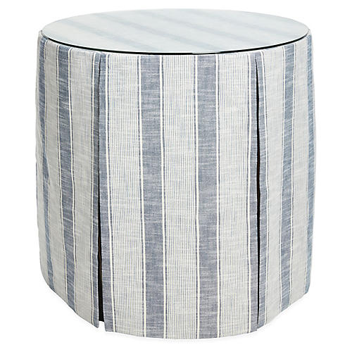 Eden Round Skirted Table, Indigo Stripe