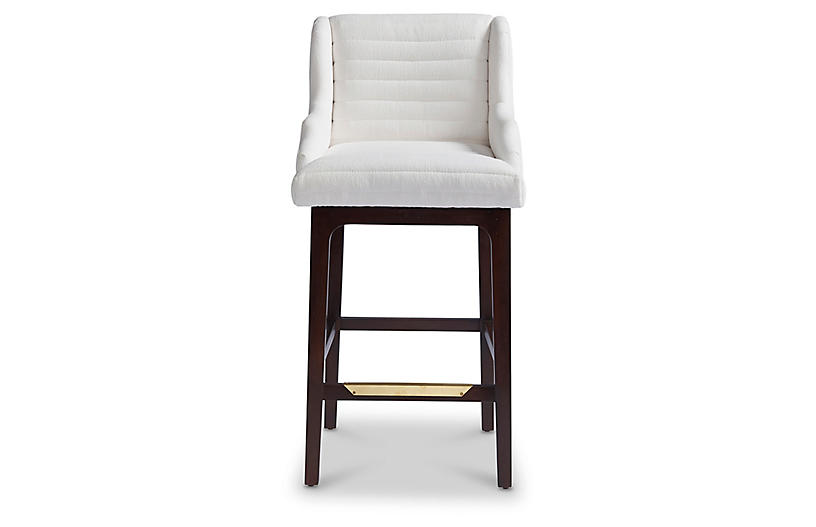 Lucas Counter Stool, White Sunbrella