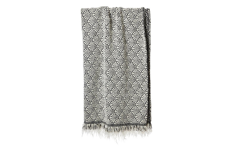 Shelly Throw, White/Black