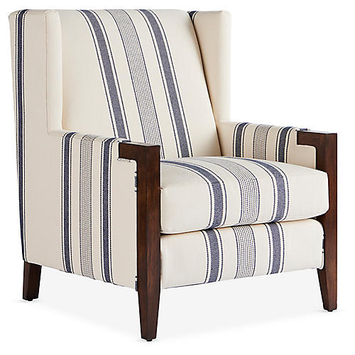 Everly Club Chair, Indigo/White Stripe