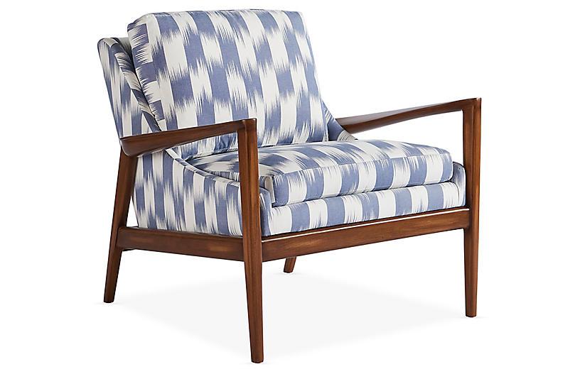 Ebonwood Chair, Sky/Ivory