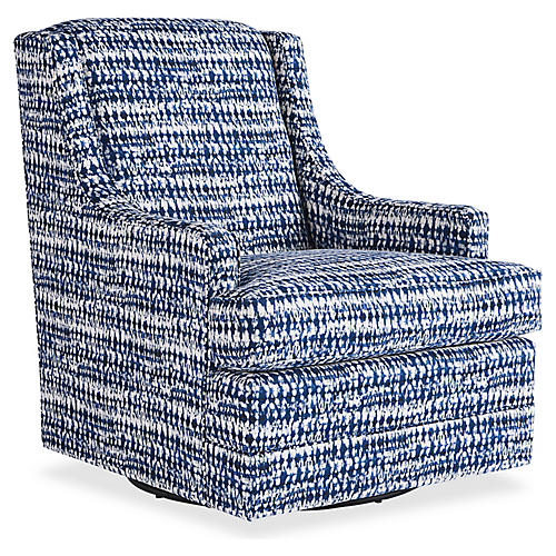 Berkley Swivel Chair, Indigo Ink
