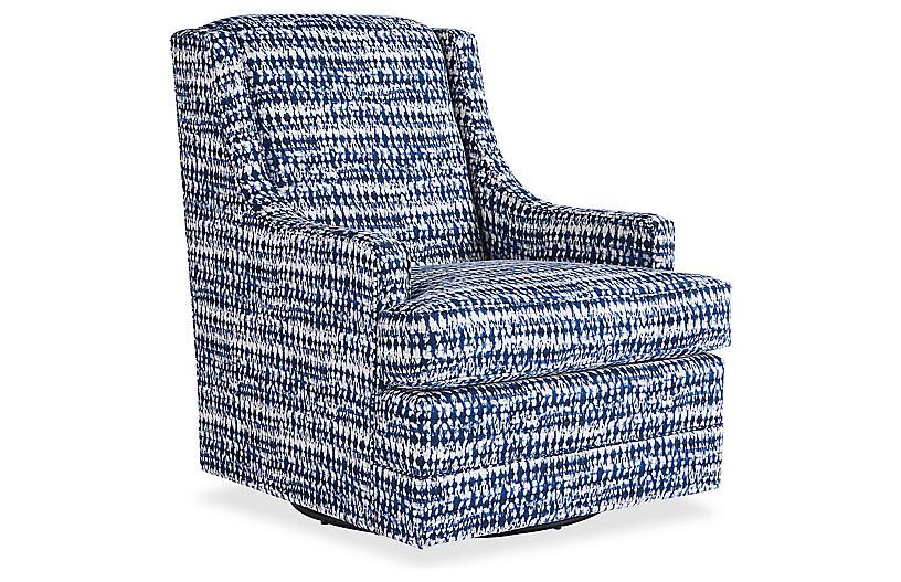 Berkley Swivel Chair, Indigo Ink