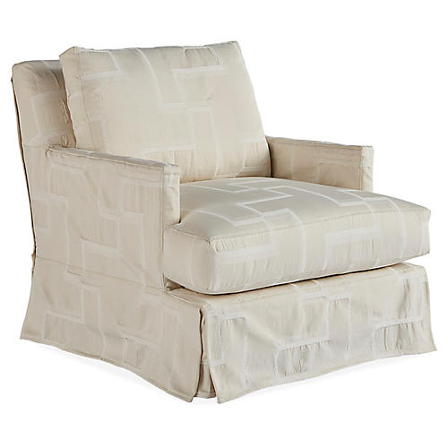 Nora Swivel Chair, Quartz/Ivory