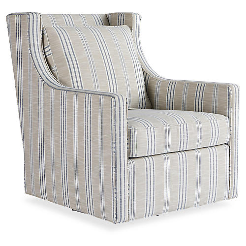 Cash Swivel Chair, Taupe/Navy Stripe