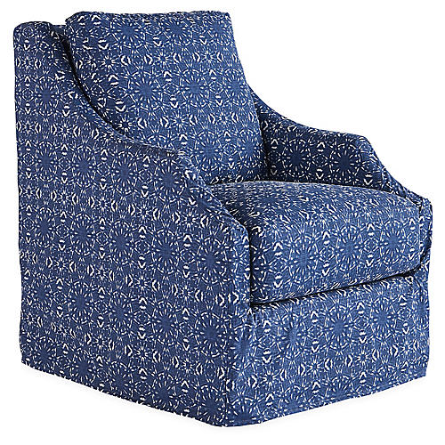 Reagan Swivel Chair, Indigo/White