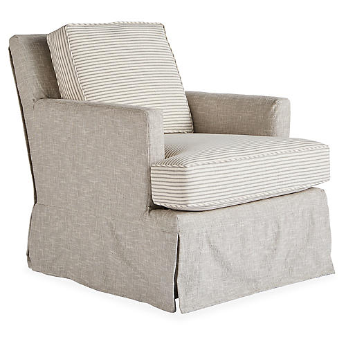Vera Swivel Chair, Gray/Natural Stripe