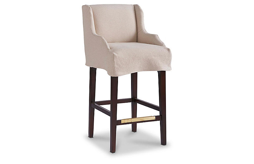 Ansley Swivel Slipcover Counter Stool, Sand
