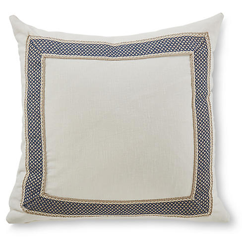 Clarke 20x20 Pillow, White/Navy