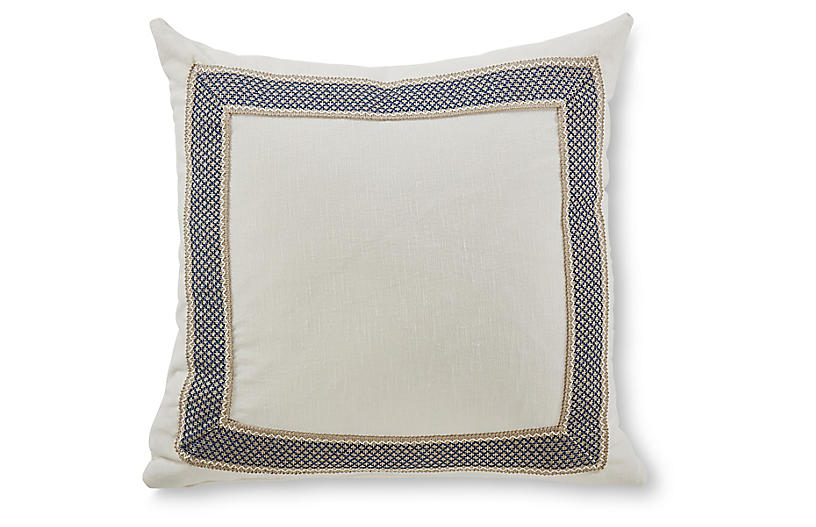 Clarke 20x20 Pillow, White/Navy