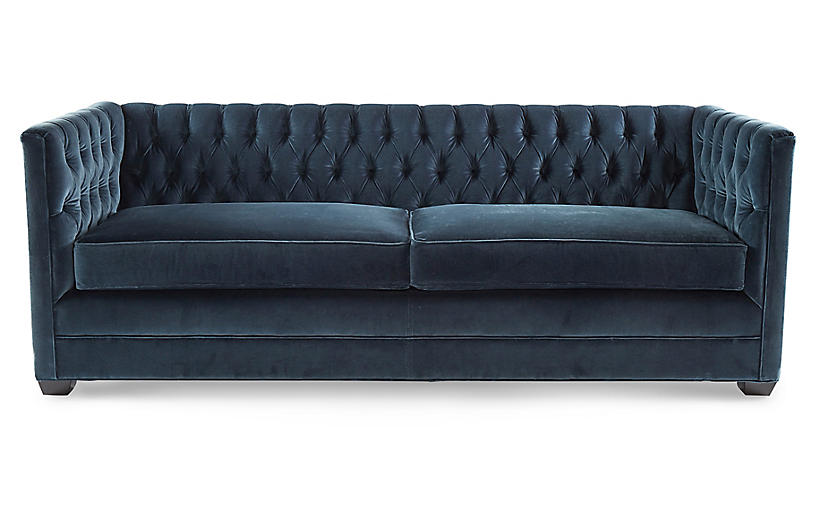 Ames Tuxedo Sofa, Atlantis Velvet
