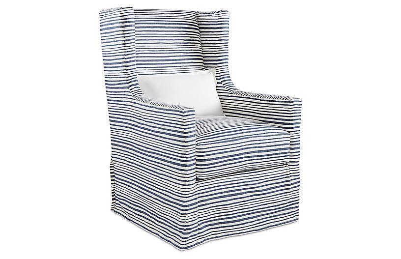 Nicole Swivel Chair, Indigo