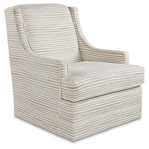 Berkley Swivel Chair, Dune Stripe