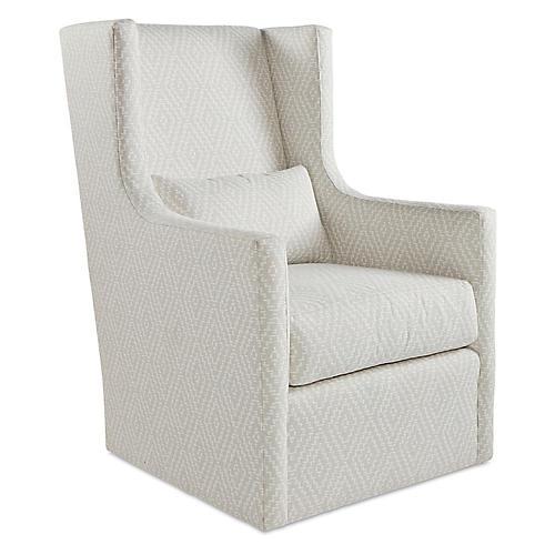 Nora Swivel Chair, Gray Sunbrella