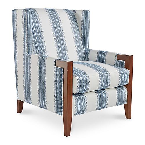 Everly Club Chair, Mineral Indigo Stripe