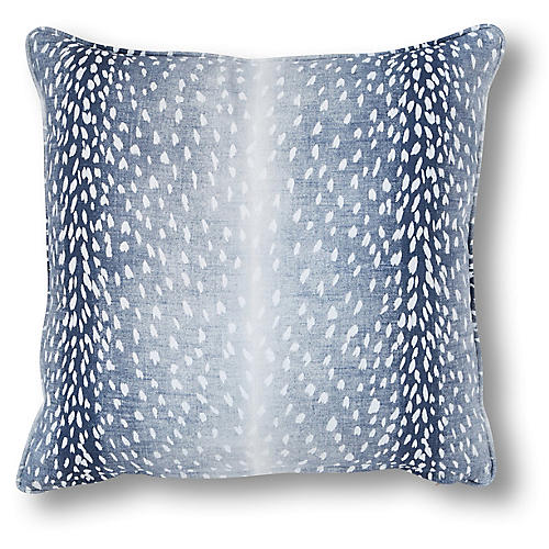 Doeskin 20x20 Pillow, Indigo/White Linen