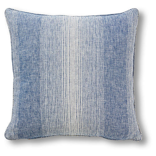 Anna 20x20 Pillow, Chambray Stripe
