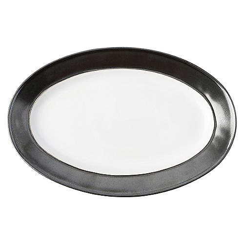 Emerson Serving Platter, White/Pewter