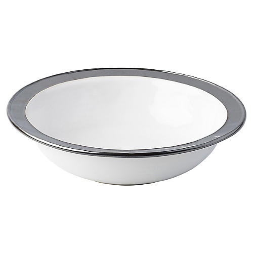 Emerson Serving Bowl, White/Pewter
