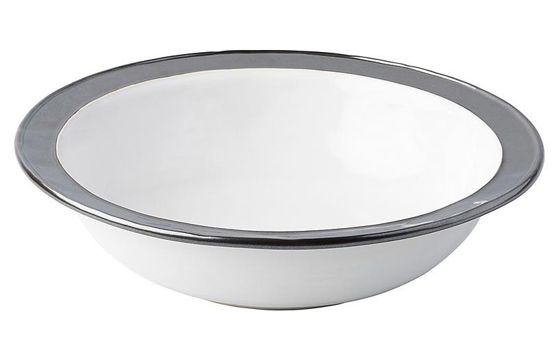 Emerson Serving Bowl, White/Pewter