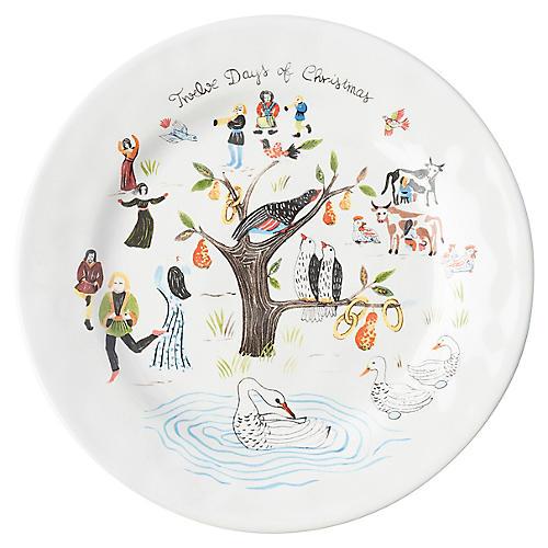 Twelve Days of Christmas Salad Plate, White