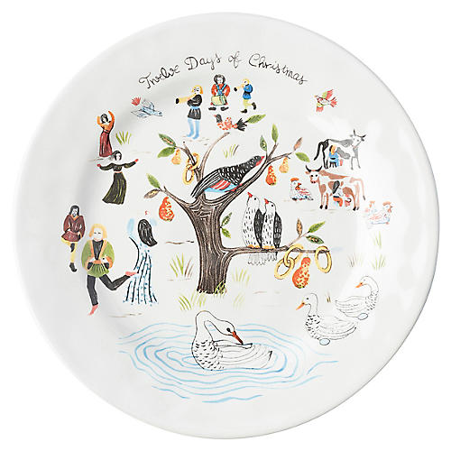 Twelve Days of Christmas Salad Plate, White
