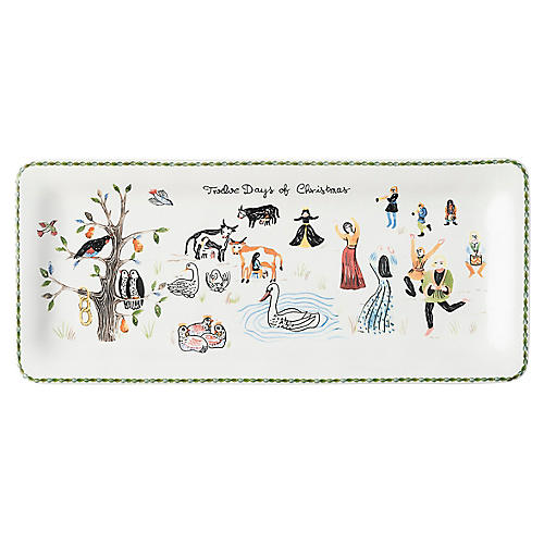 Twelve Days of Christmas Serving Tray, White