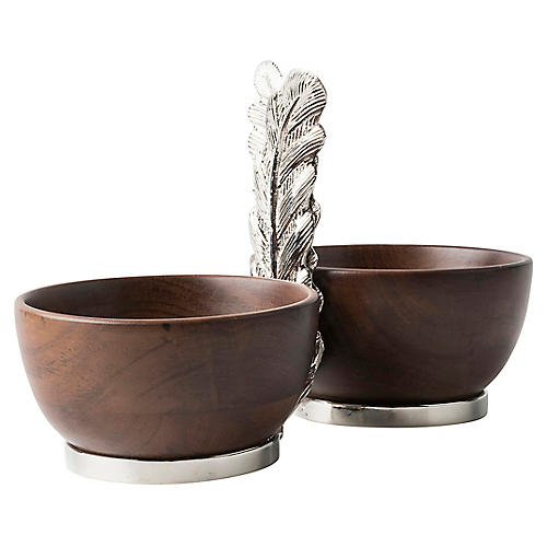 Merriam 2-Bowl Server, Natural/Nickel