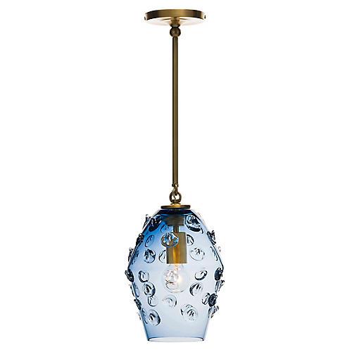 Florence Smoke Blue Diamond Pendant, Brass