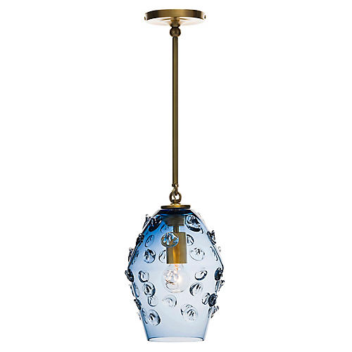 Florence Smoke Blue Diamond Pendant, Brass