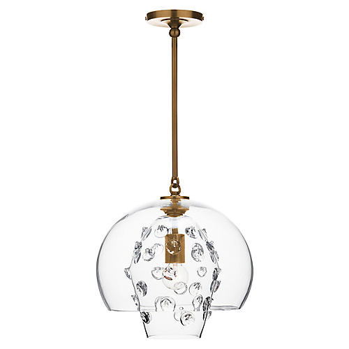 Florence Grande Double-Shade Pendant, Brass