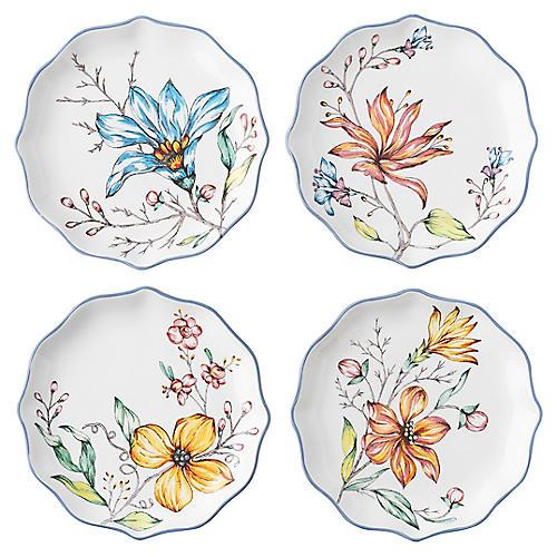 S/4 Floretta Tidbit Plates, White/Multi