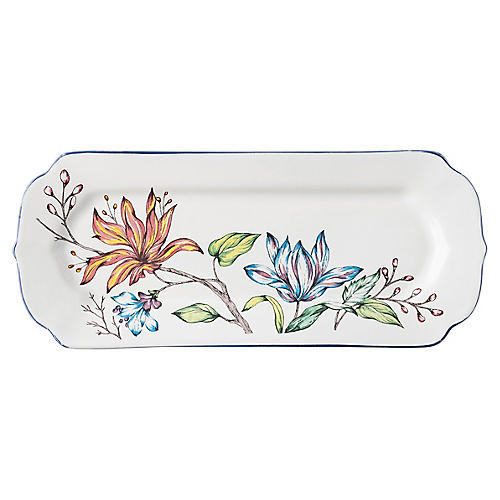 Floretta Hostess Tray, White/Multi