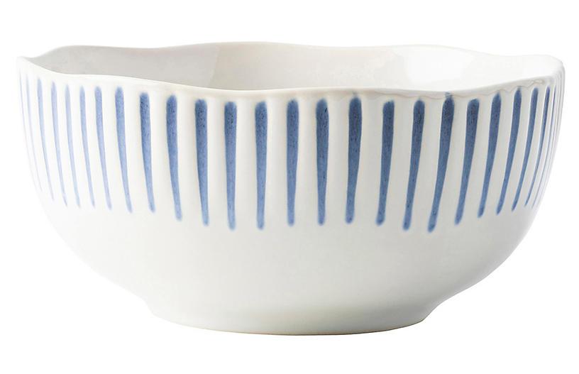Sitio Stripe Ice Cream Bowl, Indigo/White
