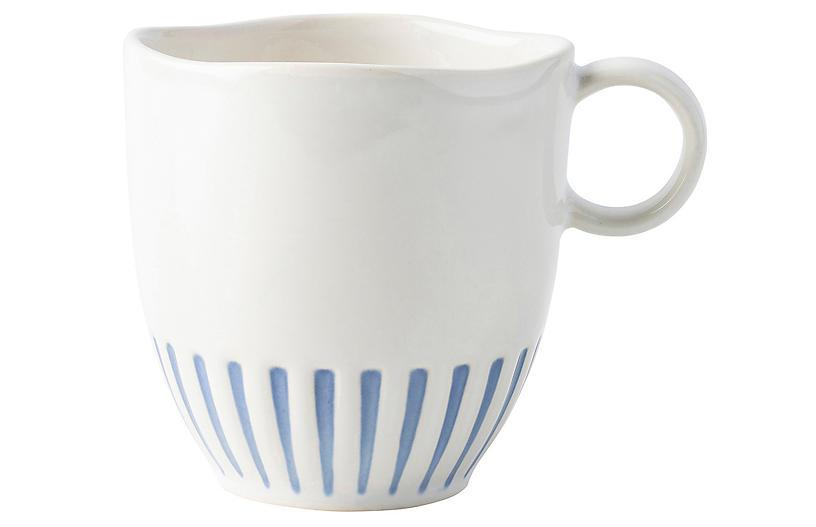 Sitio Stripe Mug, Indigo/White