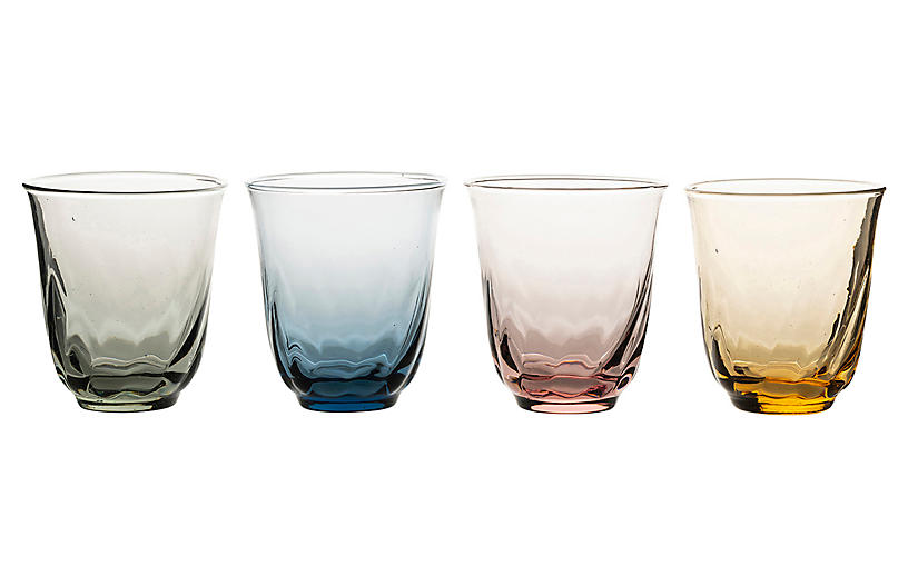 Asst. of 4 Vienne Tumblers, Clear/Multi