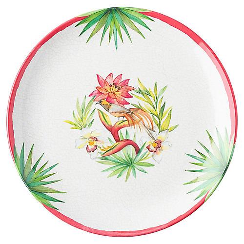 Flora & Fauna Melamine Dinner Plate, Whitewash