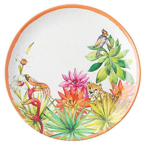 Flora & Fauna Melamine Salad Plate, Whitewash
