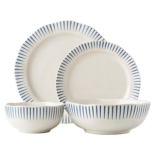 4-Pc Sitio Stripe Place Setting, Indigo