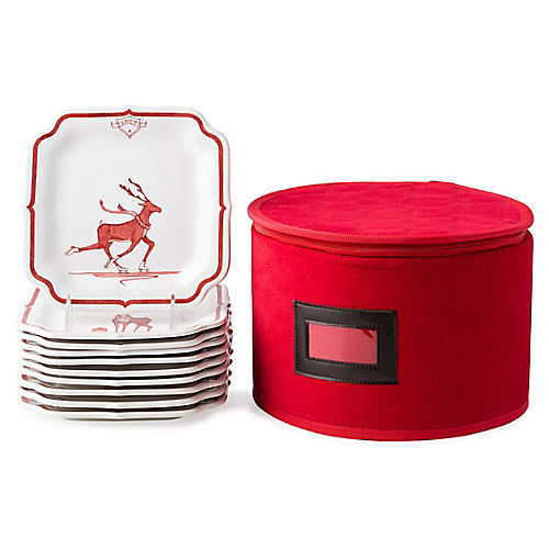 10-Pc Reindeer Games Party Plates, Ruby