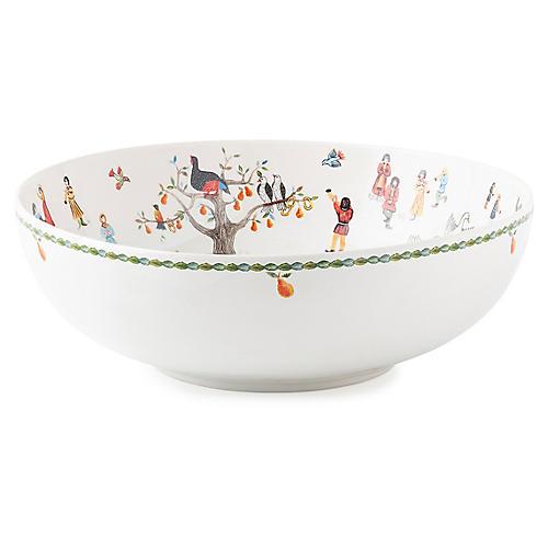 12 Days of Christmas Serving Bowl, White/Multi