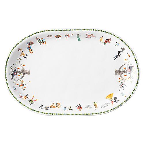 12 Days of Christmas Platter, White/Multi